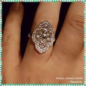 Gorgeous Sterling Mosaic Open Cut-Filligree Ring